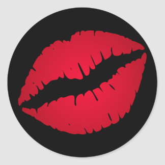 Rich Red Lipstick Print Classic Round Sticker
