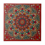 """Rich, Red Mandala. Ceramic Tile<br><div class=""""desc"""">Beautiful,  rich,  Red,  Mandala design. Looks stylish in any home interior! Gorgeous rich pattern. Use as a Trivet,  or update your home d&#233;cor.</div>"""