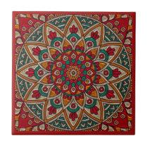 Rich, Red Mandala. Ceramic Tile