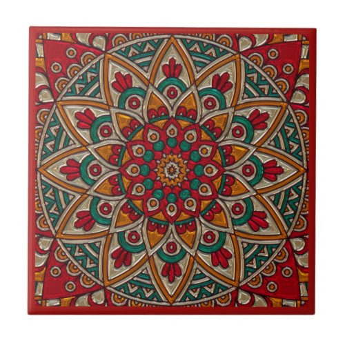 Rich Red Mandala Ceramic Tile