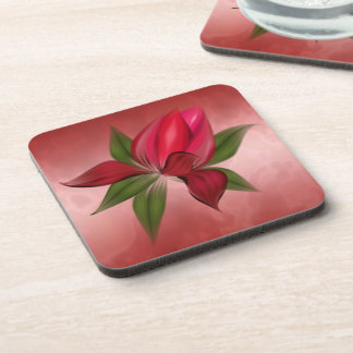Rich Red Marble with Red Flower Drink Coaster