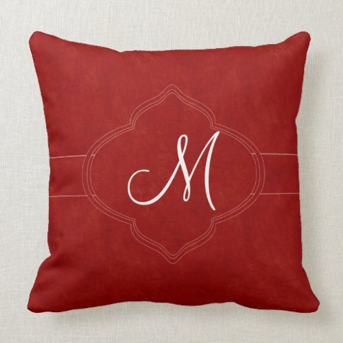 Rich Red Monogram Throw Pillow