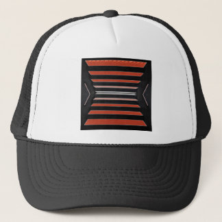 Rich Red n Black Horizontal Stripes Trucker Hat