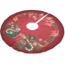 Rich Red Ombre with Christmas Wreath Brushed Polyester Tree Skirt