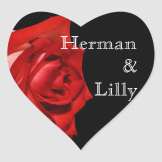 Rich Red Rose Personalized Wedding Heart Sticker