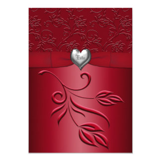 Rich Red Silver Heart Floral Wedding Invitation