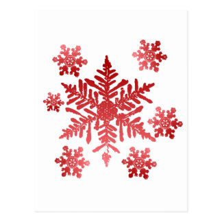 Rich Red Snowflakes Christmas Postcard