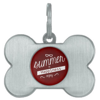 RICH RED SUMMER IS HAPPINESS QUOTES MOTTO FUN ATTI PET NAME TAG
