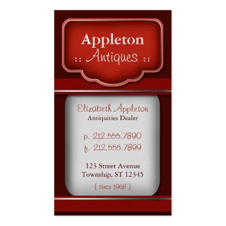 Rich Deep Red Velvet Antique Dealer Business Cards