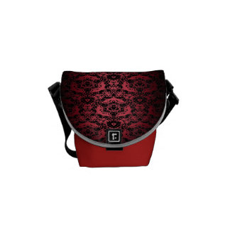 Rich Regal Red Black Lace Fade Day Sac Courier Bag