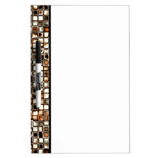 Rich Sepia Tones Textured Grid Pattern Dry-Erase Board