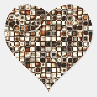 Rich Sepia Tones Textured Grid Pattern Heart Sticker