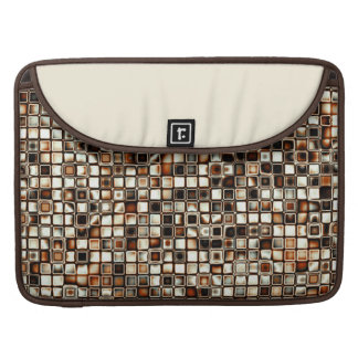 Rich Sepia Tones Textured Grid Pattern Sleeves For MacBooks