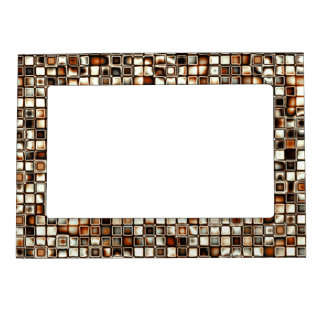 Rich Sepia Tones Textured Grid Pattern Magnetic Picture Frame