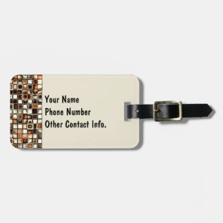 Rich Sepia Tones Textured Grid Pattern Tag For Luggage