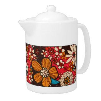 Rich sumptuous vintage floral textile pattern teapot