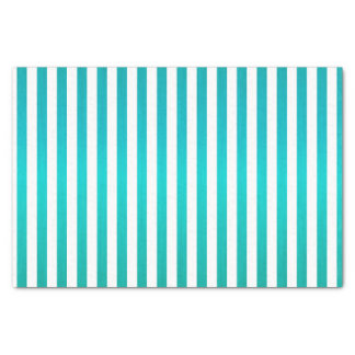 """Rich Teal Blue and White Stripes 10"""" X 15"""" Tissue Paper"""
