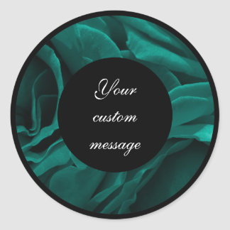Rich teal blue-green velvety roses floral photo classic round sticker