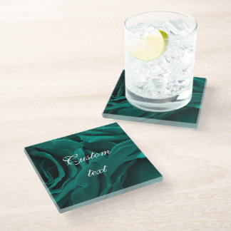 Rich teal blue-green velvety roses floral photo glass coaster