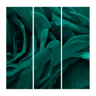 Rich teal blue-green velvety roses floral photo triptych