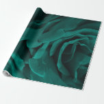 Rich teal blue-green velvety roses floral photo wrapping paper
