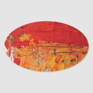 Rich Textured Red Yellow Abstract Oval Sticker