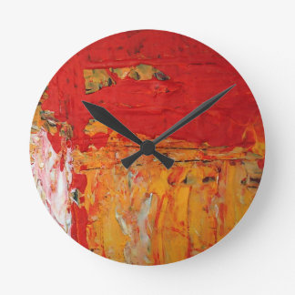 Rich Textured Red Yellow Abstract Round Clock
