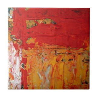 Rich Textured Red Yellow Abstract Ceramic Tile