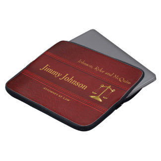 Rich Upscale Deep Red Leather - Attorney Design Computer Sleeve