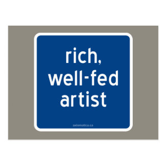 rich, well-fed artist postcard