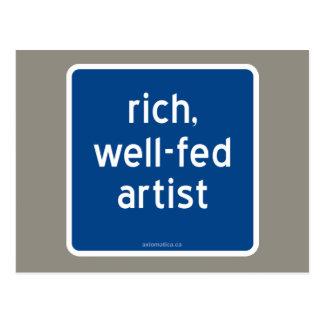 rich, well-fed artist postcard