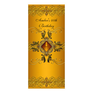 Rich Yellow Gold Ornate Jewel 40th Birthday Party Personalized Announcement