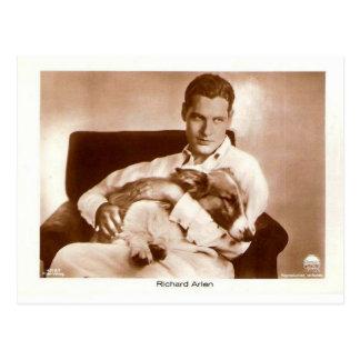 Richard Arlen screen actor with dog Postcard
