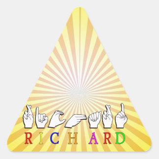 RICHARD  ASL FINGERSPELLED NAME SIGN TRIANGLE STICKER