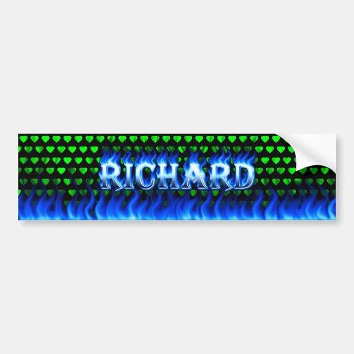 Richard blue fire and flames bumper sticker design car bumper sticker