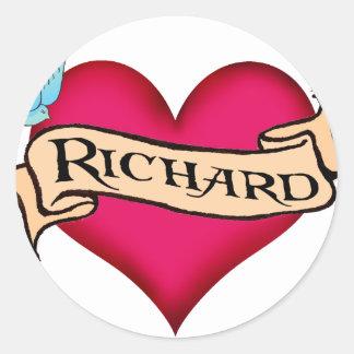 Richard - camisetas y regalos de encargo del pegatina redonda