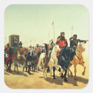 Richard Coeur de Lion en su manera a Jerusalén Calcomanías Cuadradas Personalizadas