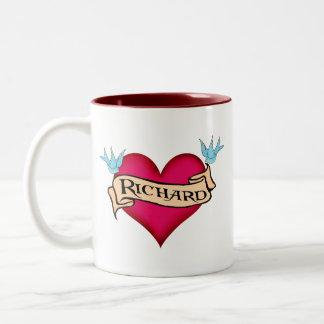 Richard - Custom Heart Tattoo T-shirts & Gifts Two-Tone Coffee Mug