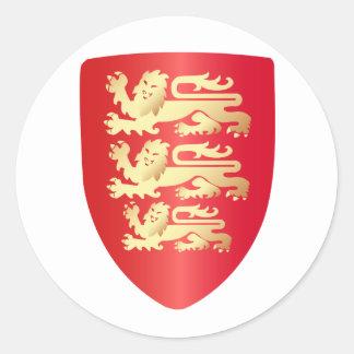 Richard el escudo del corazón del león en pegatina redonda