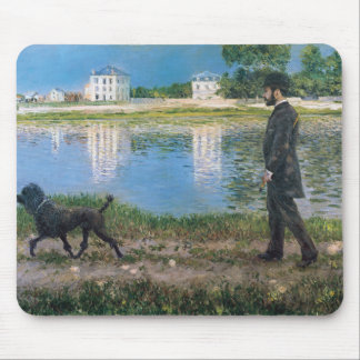 Richard Gallo and His Dog - Gustave Caillebotte Mouse Pad