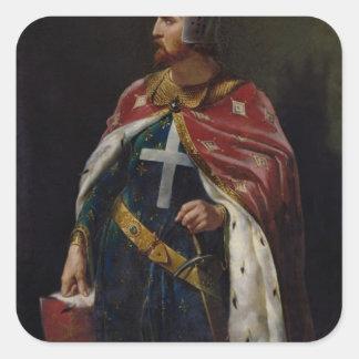 Richard I el rey de Lionheart de Inglaterra, 1841 Calcomania Cuadradas