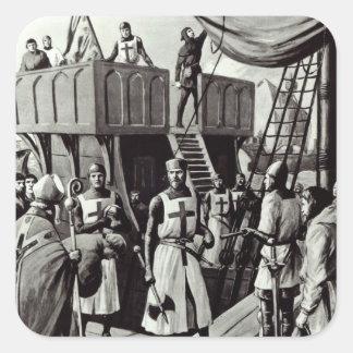 Richard I fija la vela para la Tierra Santa, 1939 Pegatina Cuadrada