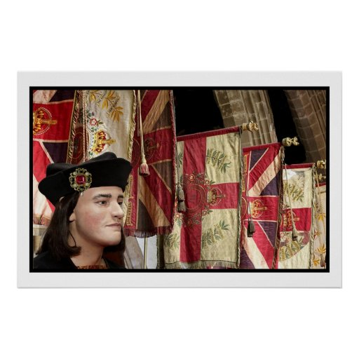 Richard III and Leicester Cathedral flags Poster