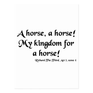 "Richard III ""My Kingdom for a Horse"" Items Postcard"