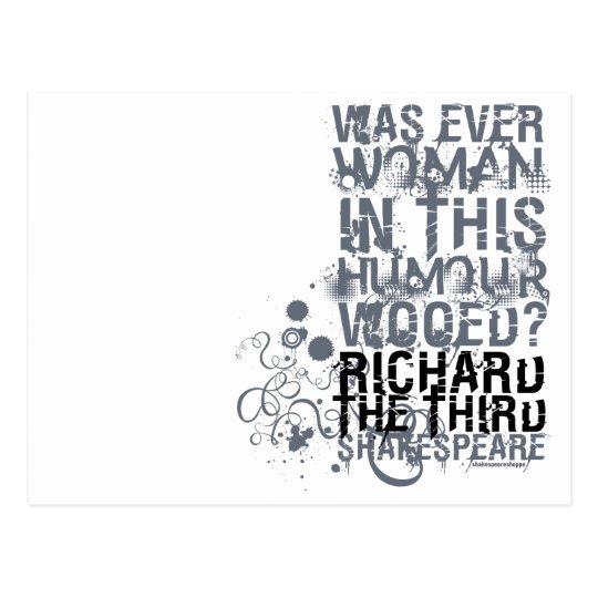 Richard III Wooed Quote (B&W) Postcard