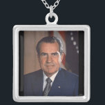 "Richard M. Nixon 37th President Silver Plated Necklace<br><div class=""desc"">Richard Nixon necklace</div>"