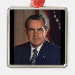 Richard M. Nixon 37th President Square Metal Christmas Ornament