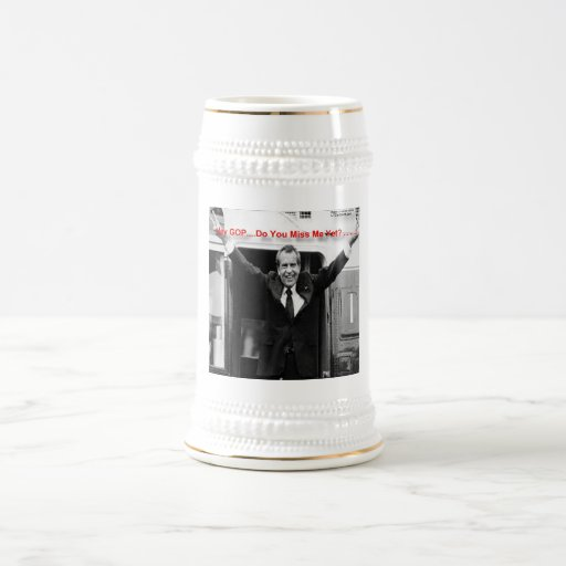 """Richard Nixon """"Miss Me Yet?"""" Funny Gifts & Tees 18 Oz Beer Stein"""