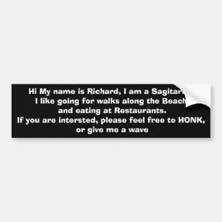 Richard Single Man Bumper sticker Car Bumper Sticker