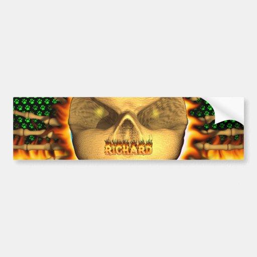Richard skull real fire and flames bumper sticker car bumper sticker
